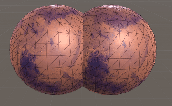 Cubesphere comparison, left: Unity, right: my scrtip